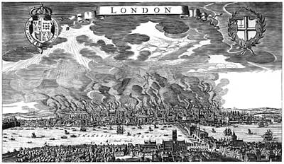 River View Painting - Great Fire Of London, 1666 by Granger