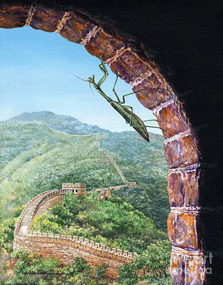 Lynette Painting - Great Wall Mantis by Lynette Cook