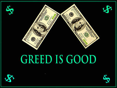 Finance Mixed Media - Greed Is Good by Dennis Dugan