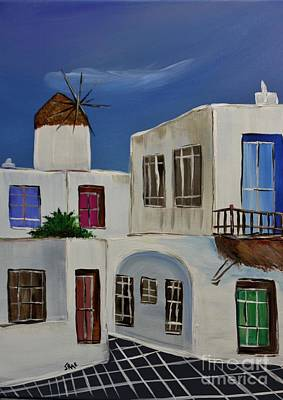 Art Print featuring the painting Greek Village by Janice Rae Pariza