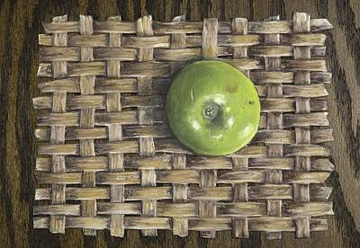 Art Print featuring the painting Green Apple On Basket by Claude Schneider