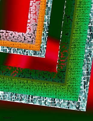 Green Geometric Art Print by Mario Perez