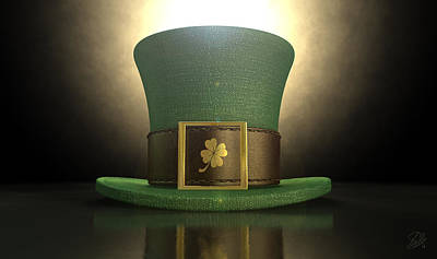 Coins Digital Art - Green Leprechaun Shamrock Hat by Allan Swart