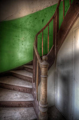 Haunted Digital Art - Green Stairs by Nathan Wright