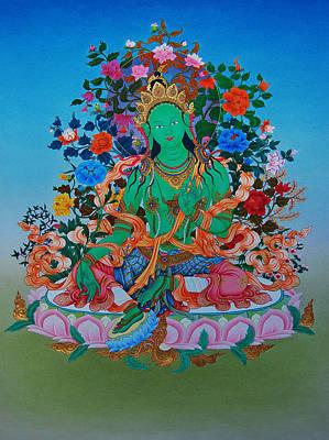 Tibetan Buddhism Painting - Green Tara The Liberatrice by Binod Art School