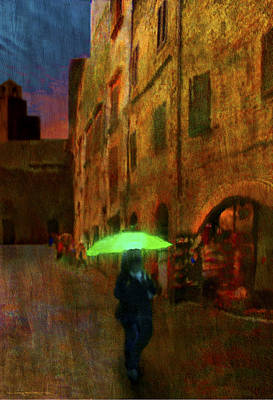 Green Umbrella Art Print by Patrick J Osborne