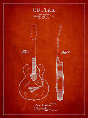 Acoustic Guitar Digital Art - Gretsch Guitar Patent Drawing From 1941 - Red by Aged Pixel