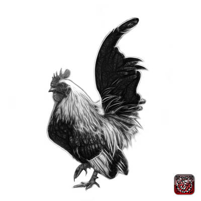 Digital Art - Greyscale Rooster Pop Art - 4602 - Bb - James Ahn by James Ahn