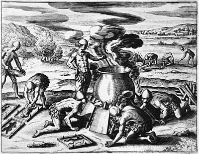 Guiana Gold Casting, 1599 Art Print by Granger