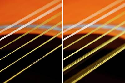Guitar Strings At Rest And Vibrating Art Print by Science Photo Library