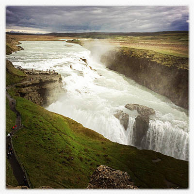 Golden Photograph - Gullfoss Waterfall Iceland by Matthias Hauser