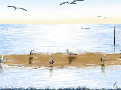 Gull Wall Art - Painting - Gulls by Veronica Minozzi