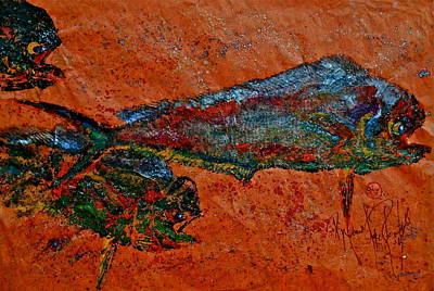 Gyotaku - Mahi Mahi - Dorado - Dolphinfish Original by Jeffrey Canha