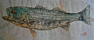 Blue Marlin Mixed Media - Gyotaku - Striped Bass - Rock Fish - Striper by Jeffrey Canha