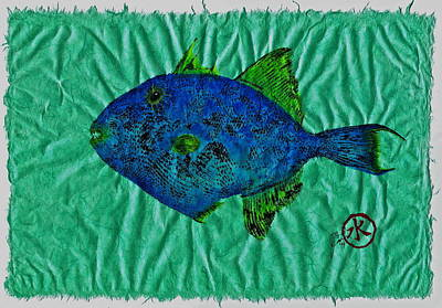Blue Marlin Mixed Media - Gyotaku - Triggerfish - Queen Triggerfish by Jeffrey Canha