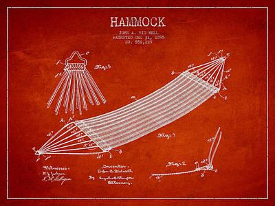 Hammock Patent Drawing From 1895 Art Print