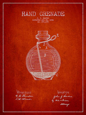 Hand Grenade Patent Drawing From 1884 Art Print