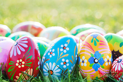 April Photograph - Hand-painted Easter Eggs On Grass by Michal Bednarek