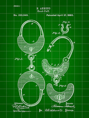 Handcuffs Digital Art - Handcuffs Patent 1880 - Green by Stephen Younts