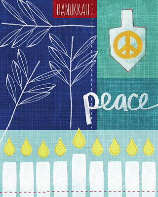 Candles Painting - Hanukkah Peace by Linda Woods