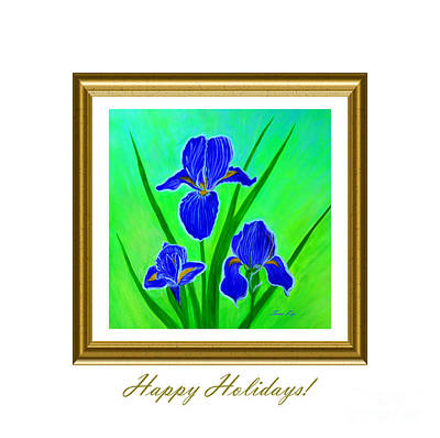 Digital Art - Happy Holidays Card. Painting. Iris Flowers. White Green  Purple by Oksana Semenchenko