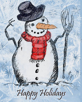 Drawing - Happy Holidays by Shelley Bain