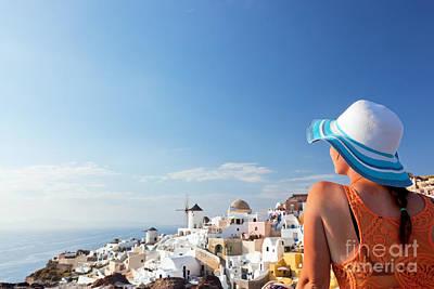 Happiness Photograph - Happy Tourist Woman On Santorini Island Greece by Michal Bednarek