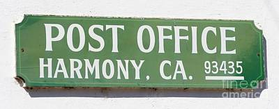 Zip Code Photograph - Harmony Post Office Sign by Tap On Photo
