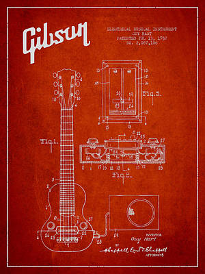 Smallmouth Bass Digital Art - Hart Gibson Electrical Musical Instrument Patent Drawing From 19 by Aged Pixel