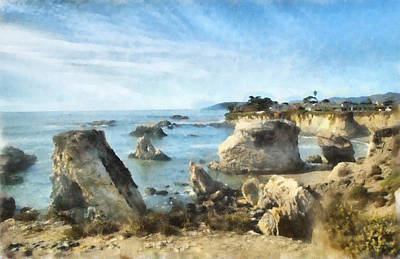Ocean Side Digital Art - Hazy Lazy Day Pismo Beach California by Barbara Snyder