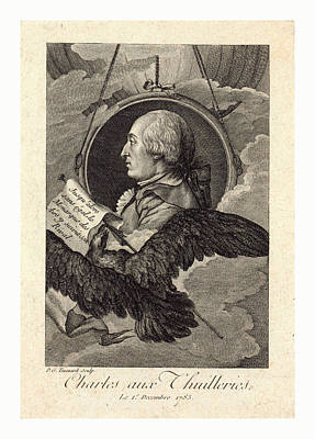 Head-and-shoulders Profile Portrait Of French Balloonist J Art Print