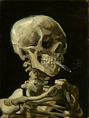 Landscapes Royalty-Free and Rights-Managed Images - Head Of A Skeleton With A Burning Cigarette by Vincent Van Gogh