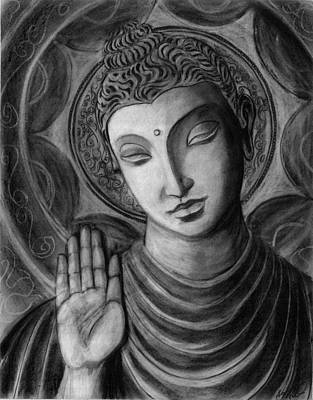 Drawing - Head Of Buddha by Naresh Sukhu