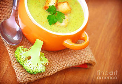 Healthy Cream Soup With Broccoli Art Print by Anna Om
