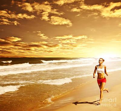 Healthy Woman Running On The Beach Art Print by Anna Om