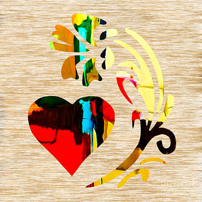 Heart And Flowers Art Print by Marvin Blaine