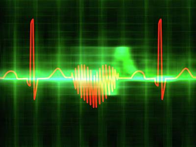 Pulsating Photograph - Heart-shaped Ecg Trace by Alfred Pasieka