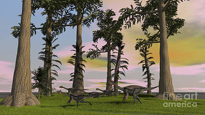 Herd Of Gigantoraptors Running Art Print