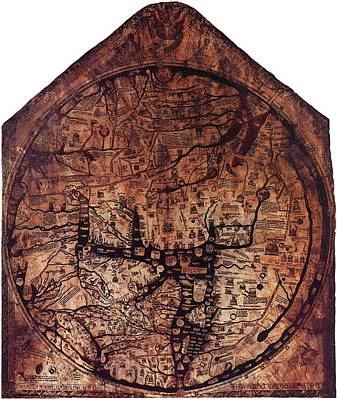 Hereford Mappa Mundi 1300 Small Border Art Print by L Brown
