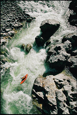 High Angle View Of A Person Kayaking Art Print