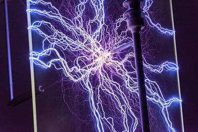 Electric Current Photograph - High Voltage Electrical Discharge by David Parker