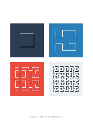 Digital Art - Hilbert Curves Of Order 1 2 3 And 4 by Martin Krzywinski