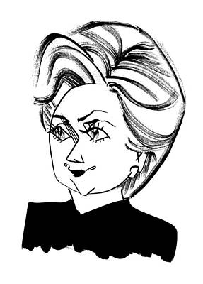 Endorsement Drawing - Hillary Clinton by Tom Bachtell