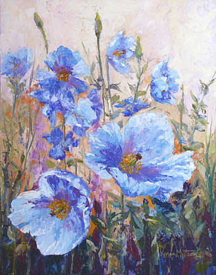 Painted Ladies Painting - Himalayan Blue Poppies by Karen Mattson
