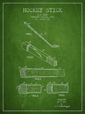 Sports Royalty-Free and Rights-Managed Images - Hockey Stick Patent Drawing From 1928 by Aged Pixel