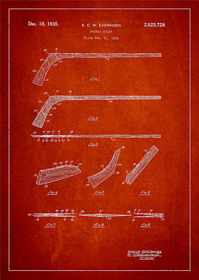 Sports Royalty-Free and Rights-Managed Images - Hockey Stick Patent Drawing From 1934 by Aged Pixel