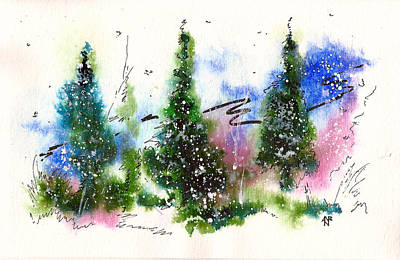 Winter Solstice Painting - Holiday Card 2 by Nelson Ruger