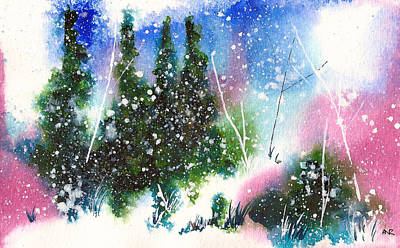 Winter Solstice Painting - Holiday Card 3 by Nelson Ruger