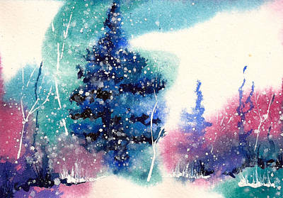 Winter Solstice Painting - Holiday Card 5 by Nelson Ruger