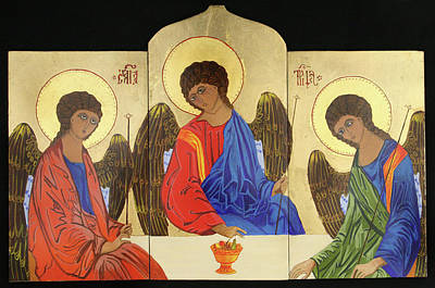Holy Trinity Icon Painting - Holy Trinity by Amy Reisland-Speer